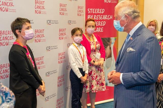 East Dulwich Fundraiser meets HRH The Prince of Wales at Breast Cancer Now's Research Centre